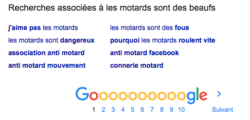 Les motards sont des beaufs selon Google