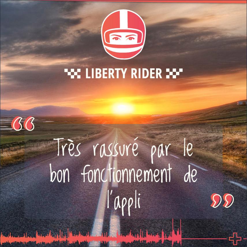 témoignage d'un utilisateur liberty rider ayant chuté avec l'application